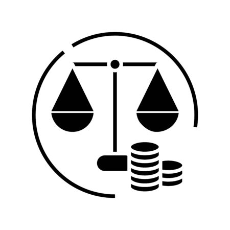 Money balance black icon, concept illustration, glyph symbol, vector flat sign.