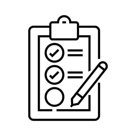 Test completion line icon, concept sign, outline vector illustration, linear symbol.