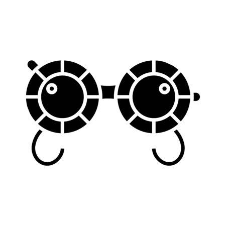 Ophtalmologist glasses black icon, concept illustration, vector flat symbol, glyph sign. Illustration