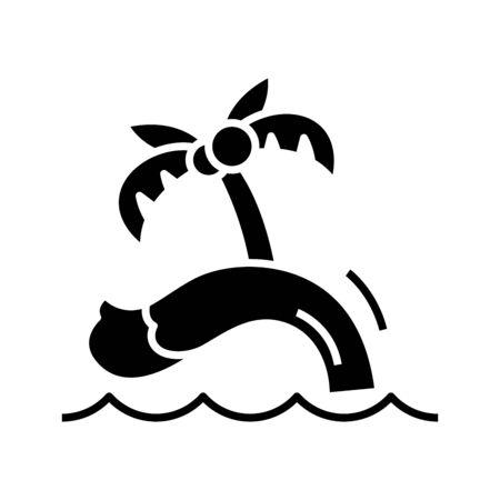 Palm island black icon, concept illustration, vector flat symbol, glyph sign. 向量圖像