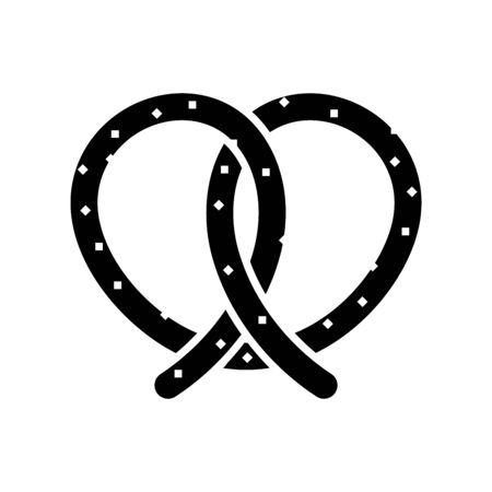 Pretzel black icon, concept illustration, glyph symbol, vector flat sign. Vettoriali