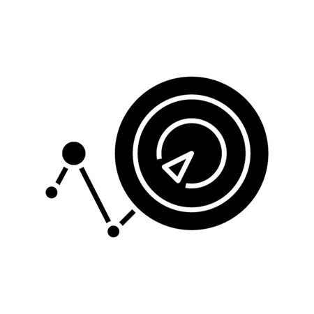 Pursuing an goal black icon, concept illustration, glyph symbol, vector flat sign.
