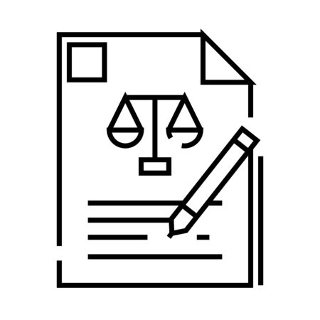 Written testimony line icon, concept illustration, outline symbol, vector sign, linear symbol.
