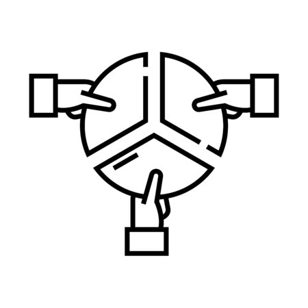 Work division line icon, concept illustration, outline symbol, vector sign, linear symbol. 일러스트