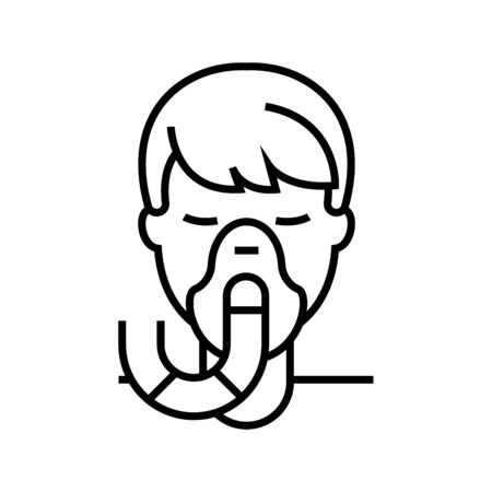 Without oxygen line icon, concept illustration, outline symbol, vector sign, linear symbol.
