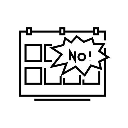Unsuccesful planning line icon, concept illustration, outline symbol, vector sign, linear symbol. Çizim