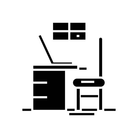 Office view black icon, concept illustration, glyph symbol, vector flat sign.