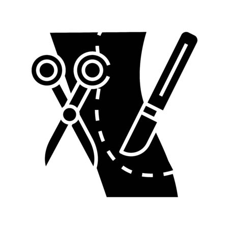 Plastic surgery incision black icon, concept illustration, vector flat symbol, glyph sign.