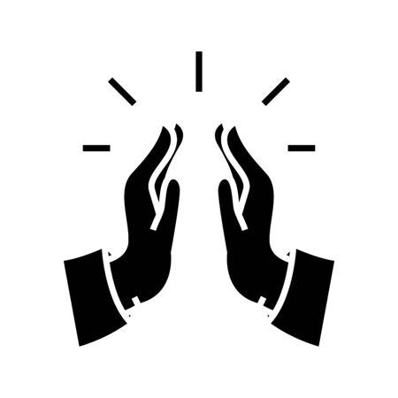 Praying gesture black icon, concept illustration, vector flat symbol, glyph sign.