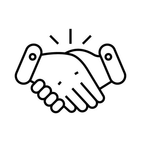 Handshake line icon, concept sign, outline vector illustration, linear symbol. Stock Illustratie