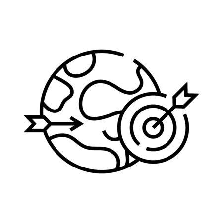 Global goal line icon, concept illustration, outline symbol, vector sign, linear symbol.