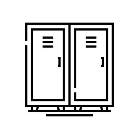 Gym locker line icon, concept sign, outline vector illustration, linear symbol.