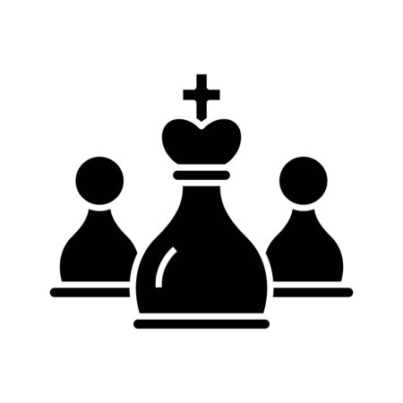 Chess black icon, concept illustration, vector flat symbol, glyph sign.