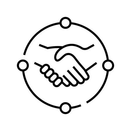 Handshakes line icon, concept sign, outline vector illustration, linear symbol.