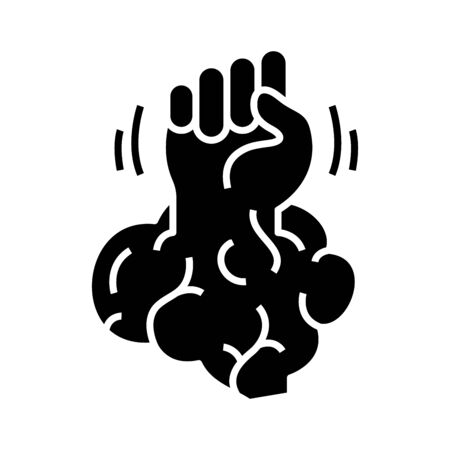 Brain power black icon, concept illustration, vector flat symbol, glyph sign. Ilustracja
