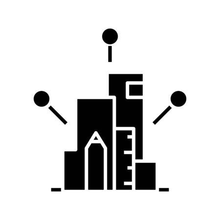 Charting tools black icon, concept illustration, glyph symbol, vector flat sign. Illustration