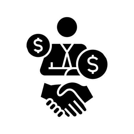 Brokerage black icon, concept illustration, vector flat symbol, glyph sign.