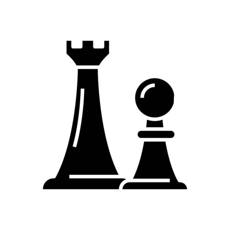 Chess pieces black icon, concept illustration, vector flat symbol, glyph sign.