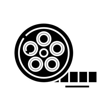 Cinema shot black icon, concept illustration, vector flat symbol, glyph sign. Ilustración de vector