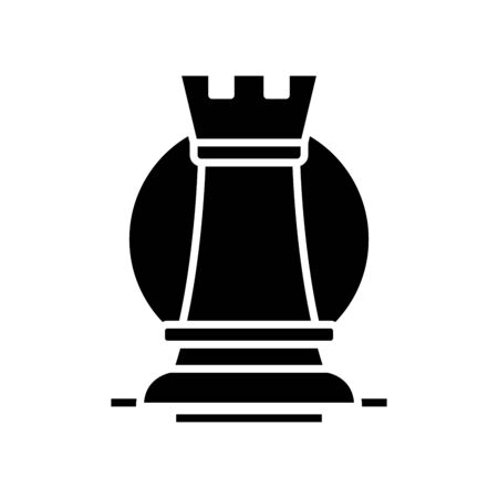 Chess sport black icon, concept illustration, vector flat symbol, glyph sign.