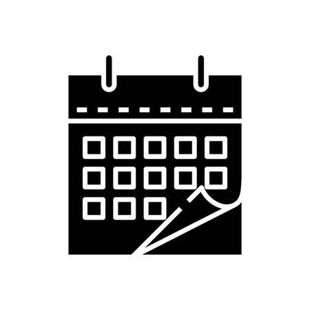 Calendar black icon, concept illustration, vector flat symbol, glyph sign.
