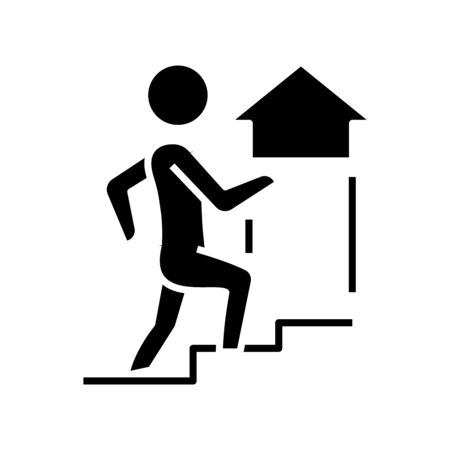 Career prospects black icon, concept illustration, vector flat symbol, glyph sign.  イラスト・ベクター素材