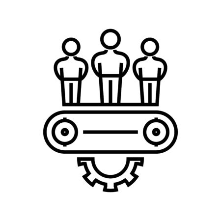 Industry employees line icon, concept illustration, outline symbol, vector sign, linear symbol.