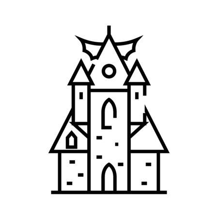Horror castle line icon, concept sign, outline vector illustration, linear symbol. Ilustração