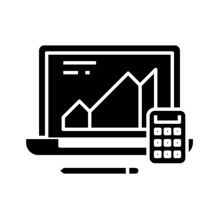 Calculating supplies black icon, concept illustration, glyph symbol, vector flat sign.