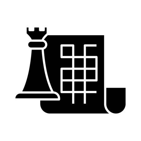 Strategic plan black icon, concept illustration, vector flat symbol, glyph sign.