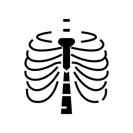 Sternum bone structure black icon, concept illustration, vector flat symbol, glyph sign.