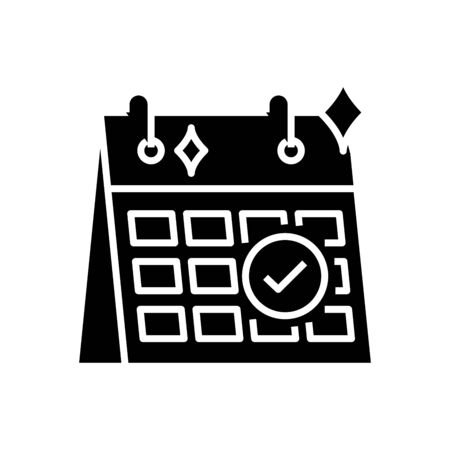 Schedule release black icon, concept illustration, vector flat symbol, glyph sign.