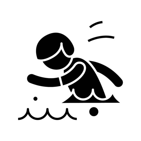 Swimmer black icon, concept illustration, vector flat symbol, glyph sign.
