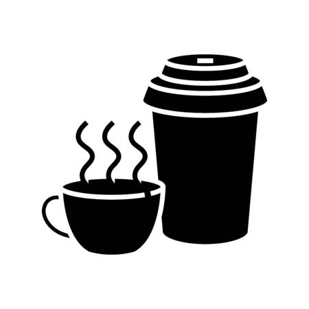 Tea outside black icon, concept illustration, vector flat symbol, glyph sign.