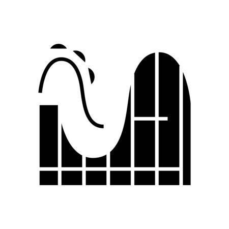 Switchback black icon, concept illustration, glyph symbol, vector flat sign.