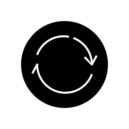 Reload black icon, concept illustration, vector flat symbol, glyph sign.