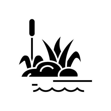 Swamp plants black icon, concept illustration, vector flat symbol, glyph sign.