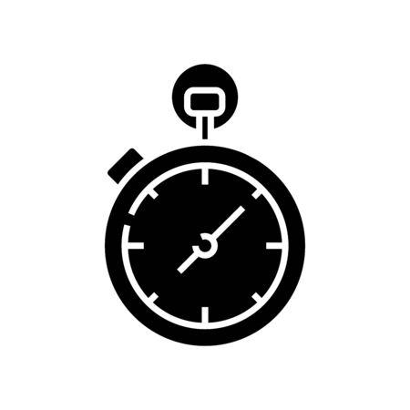 Stopwatch black icon, concept illustration, vector flat symbol, glyph sign. Ilustración de vector