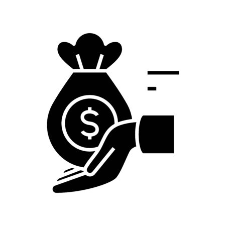 Received money black icon, concept illustration, glyph symbol, vector flat sign.
