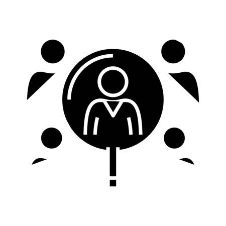 Searching staff black icon, concept illustration, glyph symbol, vector flat sign. Illustration