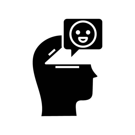 Smiling black icon, concept illustration, glyph symbol, vector flat sign.