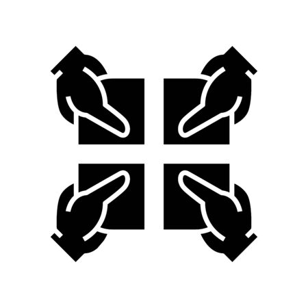 Shareholders black icon, concept illustration, vector flat symbol, glyph sign. Illustration