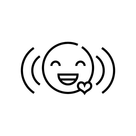 Laughing line icon, concept illustration, outline symbol, vector sign, linear symbol.