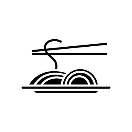 Spaghetti black icon, concept illustration, flat symbol, glyph sign.
