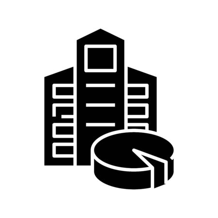 Shareholders shares black icon, concept illustration, flat symbol, glyph sign.