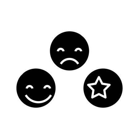 Smiling black icon, concept illustration, flat symbol, glyph sign.