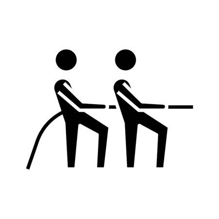 Collective task black icon, concept illustration Illustration