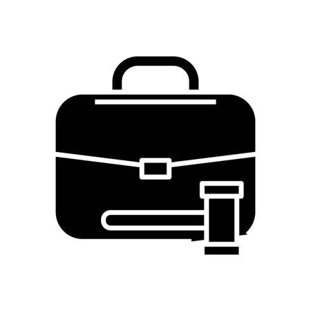 Court case black icon, concept illustration, glyph symbol, vector flat sign.