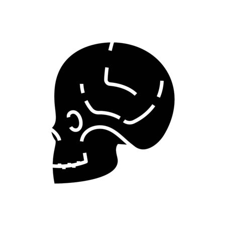 Skull diagnosis black icon, concept illustration