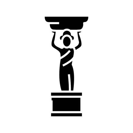 Small statue black icon, concept illustration  イラスト・ベクター素材